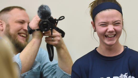 West York softball player Gabby Ilyes reacts after