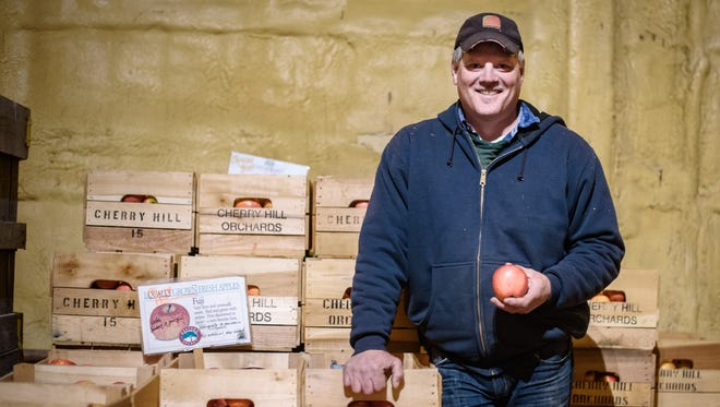 Tom Haas, owner of Cherry Hill Orchards, stands in a fruit storage cooler at his outlet store in New Danville, Lancaster County, on March 30, 2017. Haas relies on H-2A visa workers from Mexico to work seasonal picking jobs in his orchard, which he says local workers are either not interesting in taking or don't have the skills for.