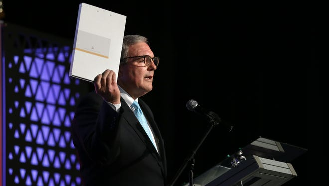 El Paso Mayor Dee Margo in October held a gray box similar to one used to ship the El Paso region's proposal to land Amazon's HQ2 during his State of the City address. The El Paso region's bid was rejected by Amazon.