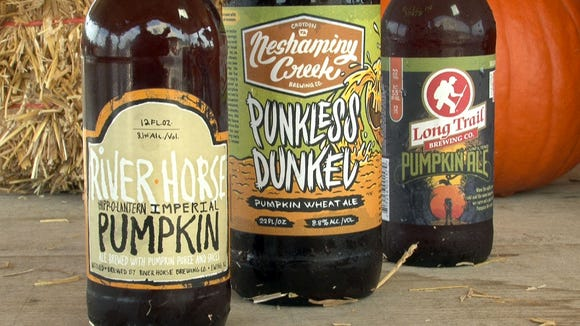 The three pumpkin ales tasted by Asbury Park Press reporter Shannon Mullen and John Marchese of Emery Farm in New Egypt Tuesday afternoon, October 28, 2014.    They are (l-r): River Horse Hipp-O-Lantern Imperial Pumpkin Ale, Neshaminy Creek Punkless Dunkel and Long Trail Pumpkin Ale.   NEW EGYPT, NJ   ASB 1028 Pumpkin ale   PUMPKINALE1028E   STAFF PHOTO BY THOMAS P. COSTELLO / ASBURY PARK PRESS