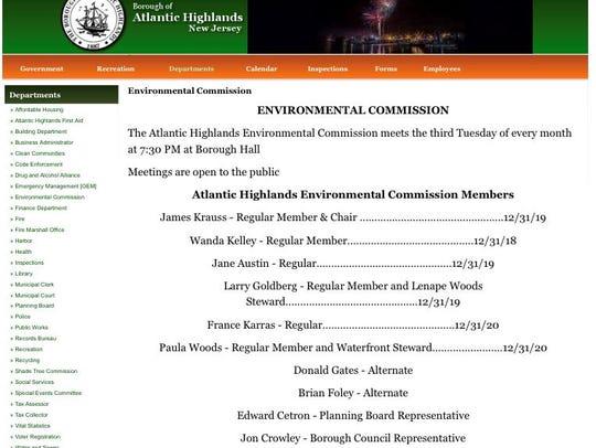 A screen shot from the Atlantic Highlands Environmental