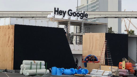 "The ""Hey Google,"" booth at the Consumer Electronics"