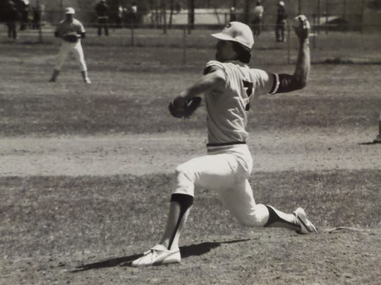 Mark Ciardi pitching for Piscataway High School. After graduating in 1979, he went on to pitch at the University of Maryland.
