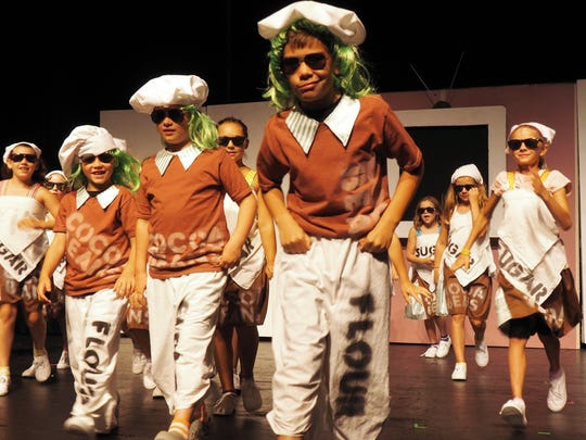 "The Oompa Loompas sing a song warning children of the ill effects of television during a rehearsal of ""Charlie and the Chocolate Factory."" The show opens Aug. 4."