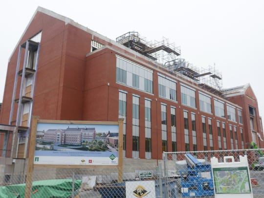One of two buildings that will make up UVM's $104 million S.T.E.M. Complex rises where Angell Hall once stood. The project is expected to finsih in early 2019.