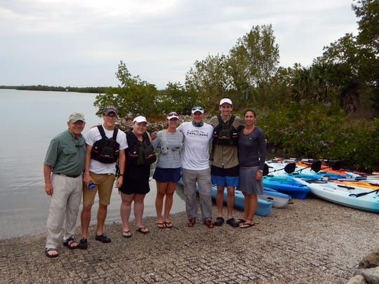 Robin Doyle, Ryan Perez, Brittany Wallace, Pamela Keyes, Ryan Young, Preston Olinger and Colene Townsend took part in the kayaking expedition that kicked off the 20th anniversary celebration of the Gene Doyle Adventure Scholarship and foundation.
