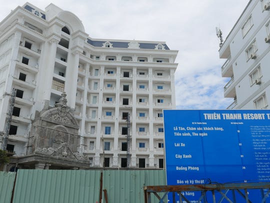 A new beach-side hotel being built on the rapidly developing