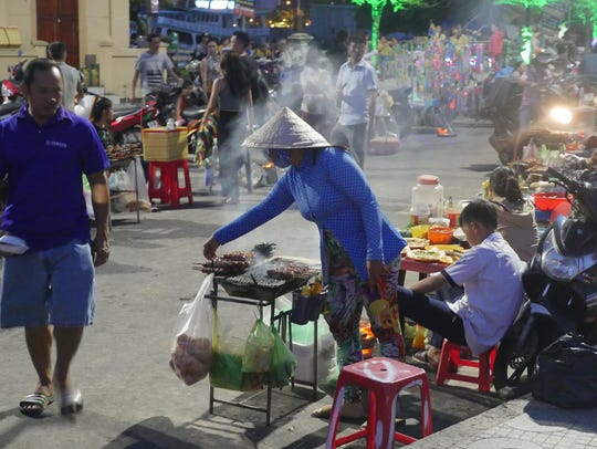 After sunset, street food vendors and hawkers set up