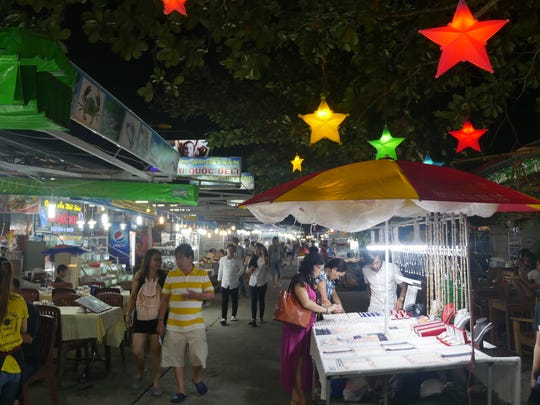 The bustling Phu Quoc Night Market on the Vietnamese island of Phu Quoc.