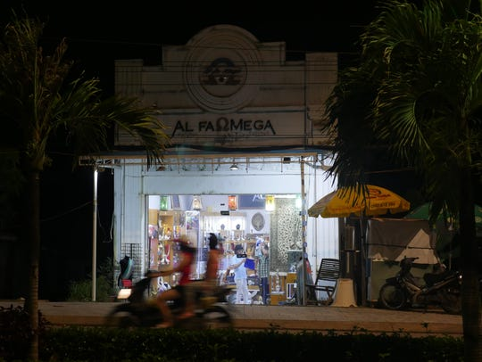 A boutique at night on the Vietnamese island of Phu