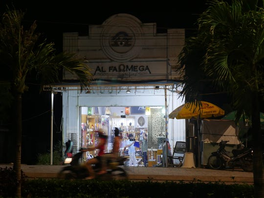A boutique at night on the Vietnamese island of Phu Quoc.