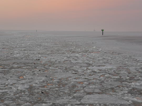 The icy waters surrounding Tangier Island.