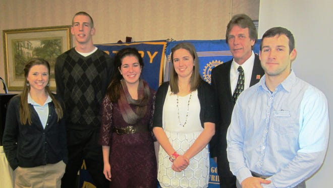 The Fond du Lac Noon Rotary students guests for December include, from left: Shannon Ahern from St. Mary Springs Academy; Marcus Ruch from Fond du Lac High School; Emily Gruber from Horace Mann High School; and Andrea Billitz from Winnebago Lutheran Academy; along with Rotary President Peter Zacherl and Brandon Singer, Rotary student coordinator.