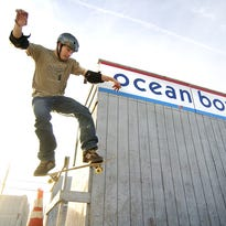 """Mark """"One Time"""" Hordeman rides the extended wall back in the old days of the Ocean Bowl in Ocean City."""