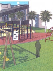 A concept drawing by the MacFarlane Group shows a playground area for children at Towles Garden, a proposed affordable home ownership project at the corner of Veronica S. Shoemaker Boulevard and Edison Avenue in Fort Myers.