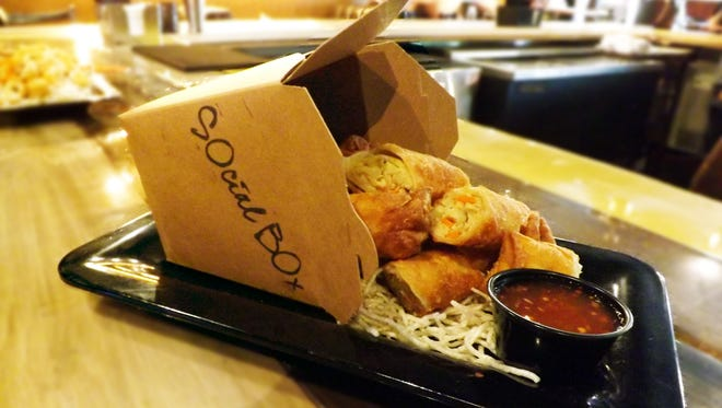 """Egg rolls are one of the many items on the Social Box menu that the restaurant describes as """"elevated comfort food."""""""