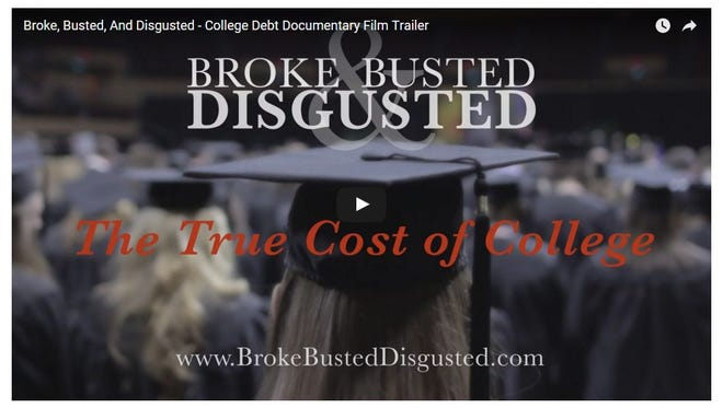 """This screenshot shows an image from the trailer of the new documentary, """"Broke, Busted, Disgusted,"""" by Adam Carroll."""