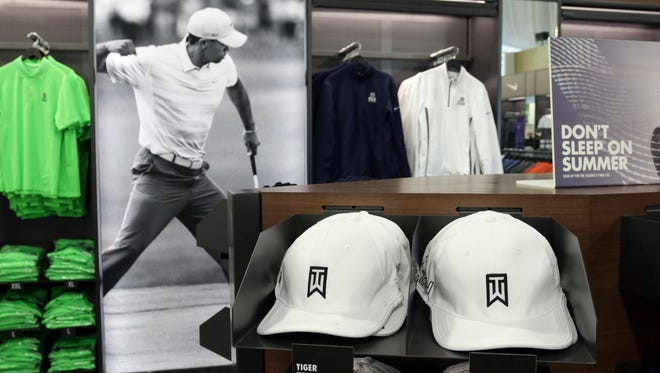 Tiger Woods gear at the merchandise shop at Whistling Straits near Haven is pictured. The PGA shop will be open to non-ticket holders this weekend.