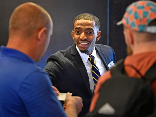 TSU student and Saudi Arabia native Suhayb Hawsawi works the front desk at the Homewood Suites by Hilton Nashville Vanderbilt hotel. TSU added a hospitality management concentration in recent yearsFriday Sept. 29, 2017, in Nashville, TN