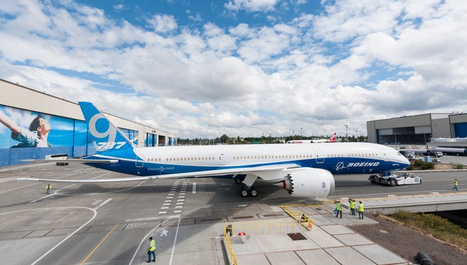 The factory roll out of Boeing's newest version of its 787-9 Dreamliner 787-9 in Everett, Wash., on Aug. 24, 2013.