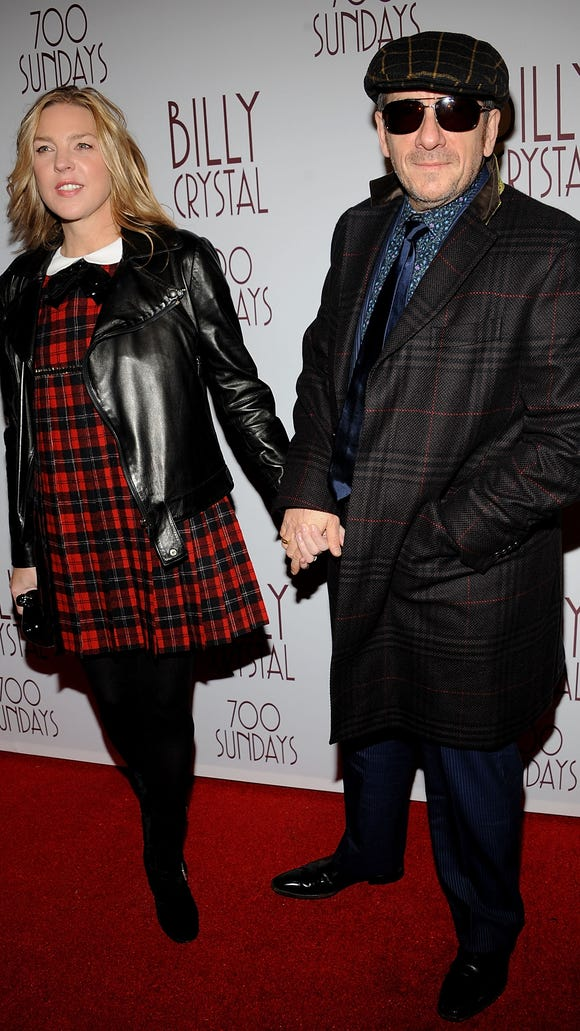 """Diana Krall and Elvis Costello attend Billy Crystal's """"700 Sundays"""" Broadway opening night at Imperial Theatre on November 13, 2013 in New York City."""