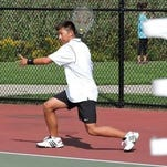 Plymouth No. 1 singles standout Jordan Lu takes a healthy swing during a 2014 contest.