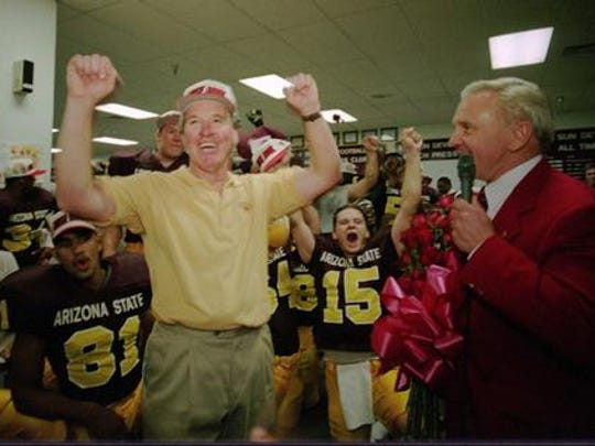 ASU football coach Bruce Snyder celebrates after his