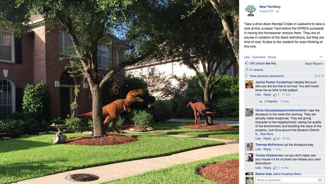 Nancy Hentschel and her husband found two metal sculptures of dinosaurs while on vacation in Arizona and decided to bring them home, KTRK-TV reported.