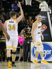 Northern Kentucky Norse guard Tyler Sharpe (15), right,