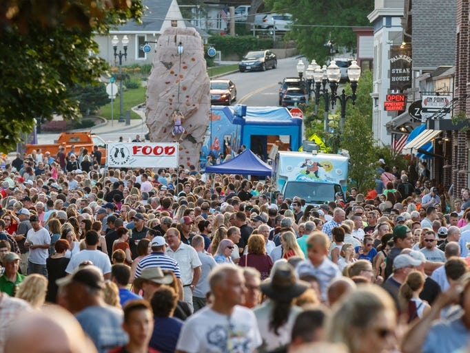 A sea of people converge on downtown Hartland for the