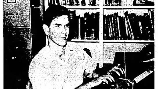 Sightless teacher-W. Burns Taylor, blind English teacher at University of Texas at El Paso, operates Braille writing machine.