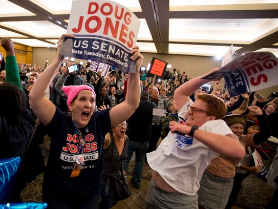 Emily Bell and Connor Welch celebrate as U.S. Senate