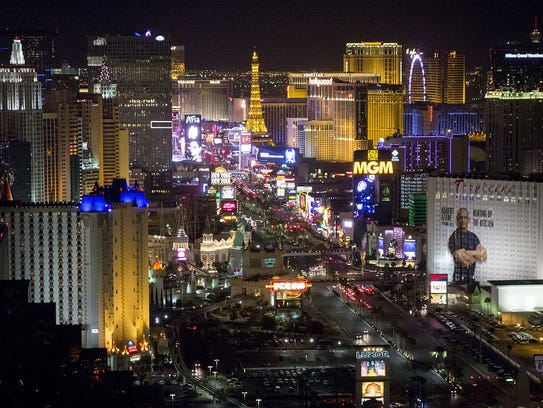 The Las Vegas Strip and skyline including various hotels