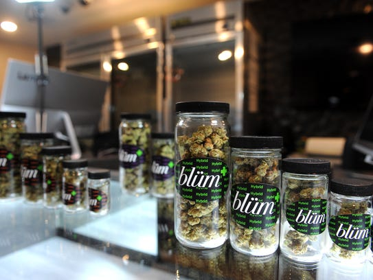 A selection of products are seen at Blum Medical Marijuana