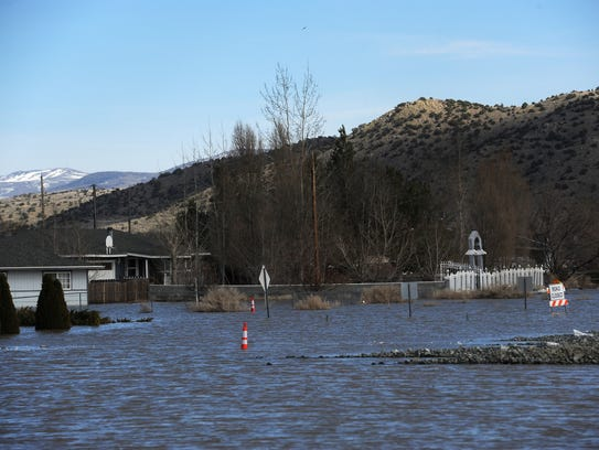 Flood water is seen in Lemmon Valley on March 17, 2017.