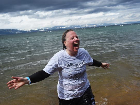 Kelly Hamon comes out of the frigid water during the 2017 Polar Plunge benefit for Special Olympics at Zephyr Cove.