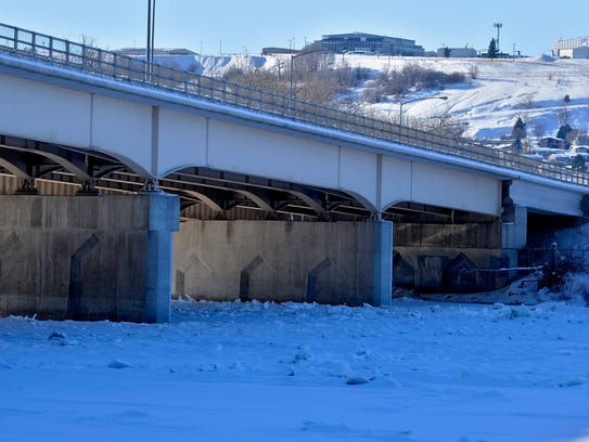 Ice covers the Missouri River upriver from Broadwater