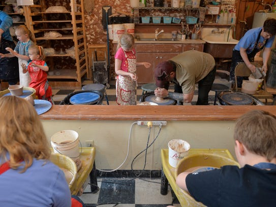 Dino Pfaff's pottery class for parents and kids at