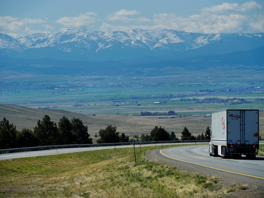 Snow covered peaks of the Elkhorn Mountains, looking