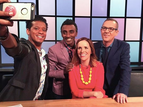 "A new round of talented young cooks storms the kitchen to win over the judges, chefs Roble Ali, left, Marcus Samuelsson and blogger Rachel Hollis. The three pose with Ted Allen host of the Food Network TV show ""Chopped Junior."" The three judged on ""Basket Brawl"" from Season 3/Episode 11."