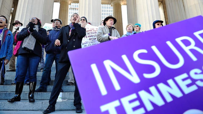 Justin Jones, a Fisk University student, speaks during a rally in support of Insure Tennessee at Legislative Plaza.