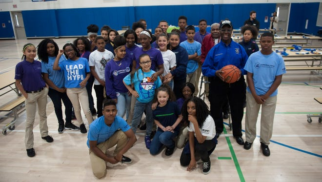 Camden County Sheriff Gilbert 'Whip' Wilson honored the boys' and girls' basketball teams and cheerleading team at KIPP Cooper Norcross Academy with a pizza party Friday.