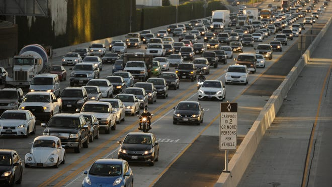 Southbound traffic on the San Diego Freeway south of the Santa Monica Freeway in the Los Angeles area.