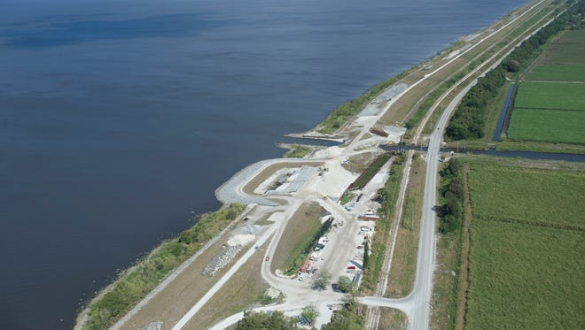 Construction on Herbert Hoover Dike Culvert 11 is seen on an aerial tour of South Florida Water Management District projects March 24, 2017 near Lake Okeechobee.