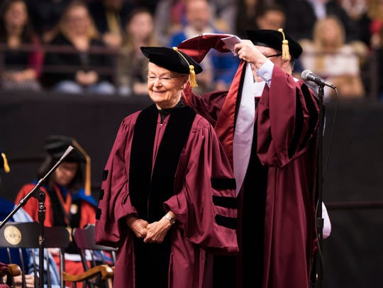UTEP President Diana Natalicio is shown with Dr. Myechia