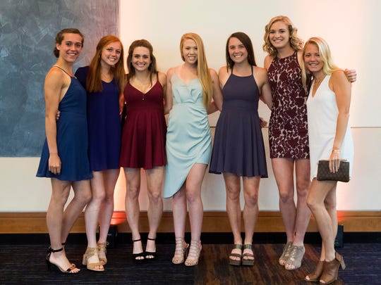 University of Tennessee track and field athletes, from left, Nicole Adam, Aliana Riordan, Lexi Froh, Peighton Meske, Abigail Smith, Sarah Reeves, and Taylor Luthringer at the Volscars on Monday, April 16, 2018.