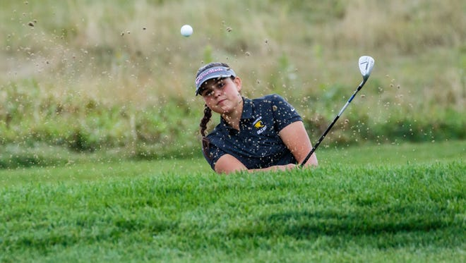 Franklin's Courtney Matschke hits out of the sand during the 2017 Hartford Invitational at Washington County Golf Course this season.