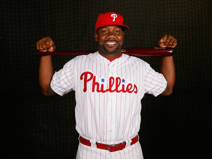 Ryan Howard #6 of the Philadelphia Phillies poses for a portrait on February 19, 2014 at Bright House Field in Clearwater, Florida.
