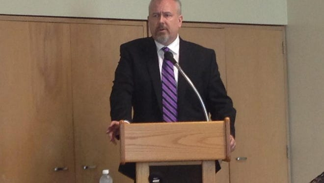 Steven Baule is introduced on Friday as the finalist for Muncie Community Schools superintendent.