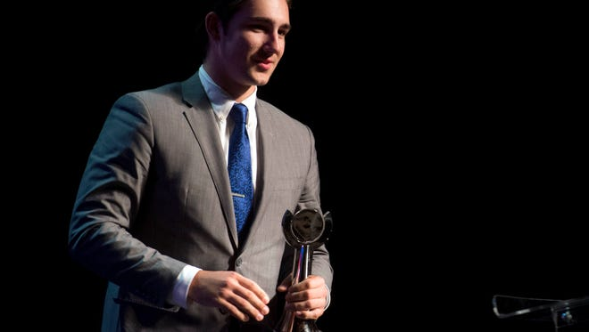 Spencer Strider of Christian Academy of Knoxville is the Baseball Player of the Year at the News Sentinel Sports Awards at the Tennessee Theatre on Wednesday, June 7, 2017.